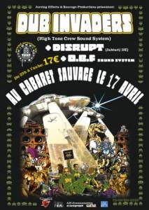 L'affiche de la première date parisienne de Dub Invaders (avec OBF et Disrupt), en avril 2009.