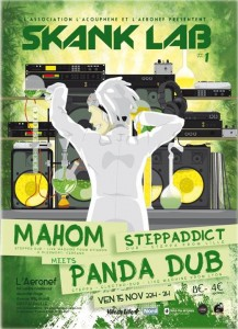 L'affiche de la soirée lilloise Skank Lab qui a donné lieu à une belle release Mahom/Pand Dub.