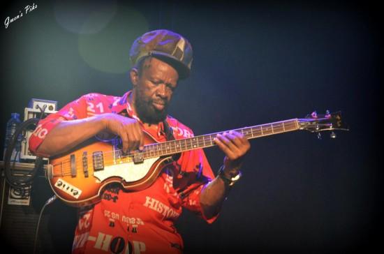 Le légendaire bassiste Errol Carter aka Flabba Holt des Roots Radics qui accompagnent Israel Vibration pour tous leurs concerts.