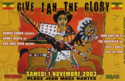 "Flyer d'une session ""Give Jah The Glory"" à Nantes en 2003. L'imagerie rasta est omniprésente."