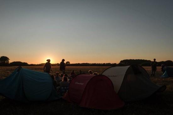 Coucher de soleil sur le camping vendredi soir.