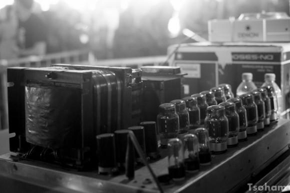 Un ampli à lampes du Chalice sound system lors du Dub Camp festival, en juillet 2015.